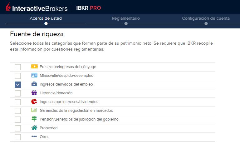 Fuente de ingresos para abrir una cuenta en Interactive Brokers